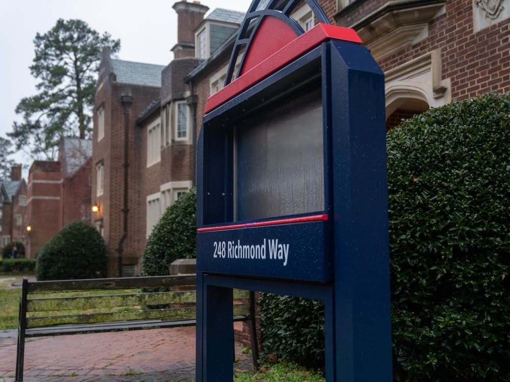 Paint was placed over the names of Robert Ryland, Douglas Southall Freeman, T. Justin Moore, Jeremiah Bell Jeter, E. Claiborne Robins, Frederic Boatwright and Pauly Queally on University of Richmond campus signage over the course of several weeks in March. Black Lives Matter flags were also placed over signs beginning on March 25, 2021.