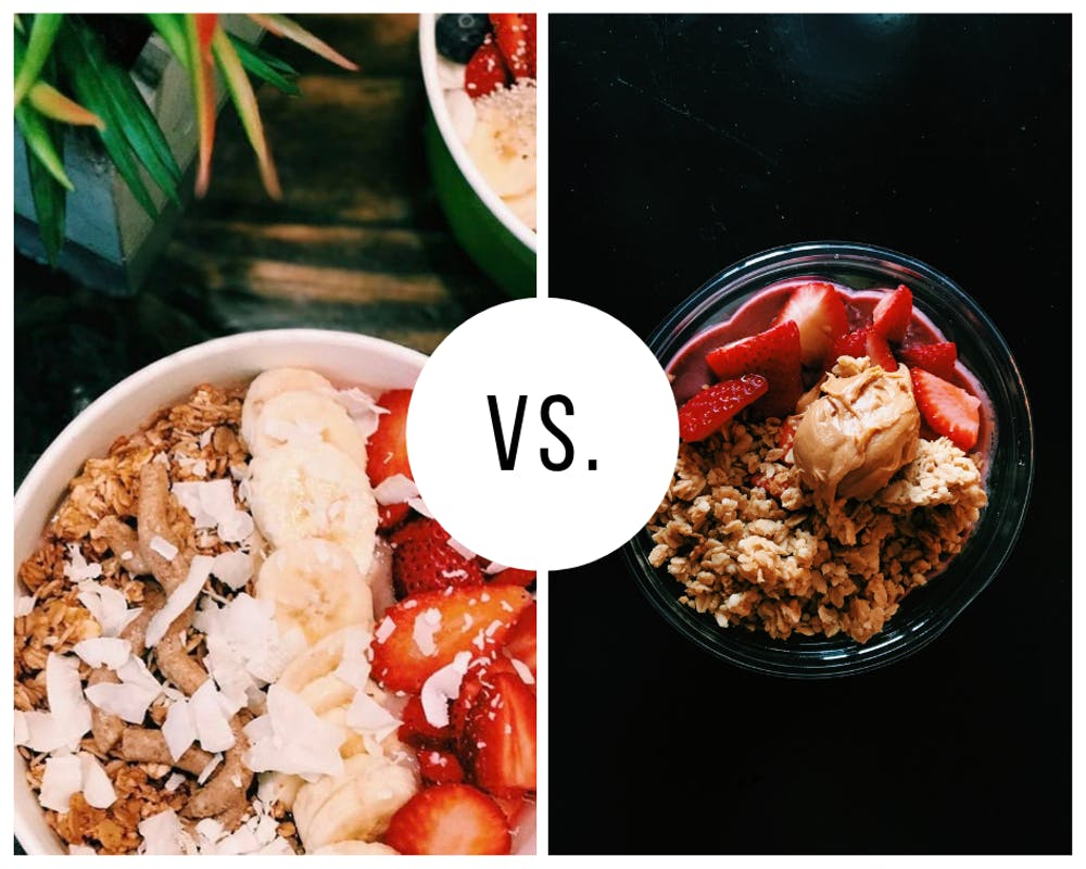 <p>UR students cannot seem to decide which is the better açai bowl -- Ginger Juice (left), or The Pit and The Peel. <em>Photos courtesy of Michaela Tevlin and Morgan Tolan</em></p>