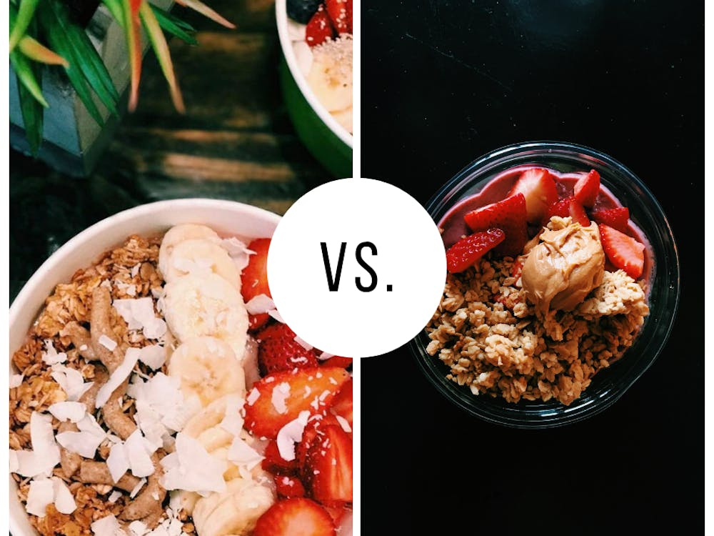 UR students cannot seem to decide which is the better açai bowl -- Ginger Juice (left), or The Pit and The Peel. Photos courtesy of Michaela Tevlin and Morgan Tolan
