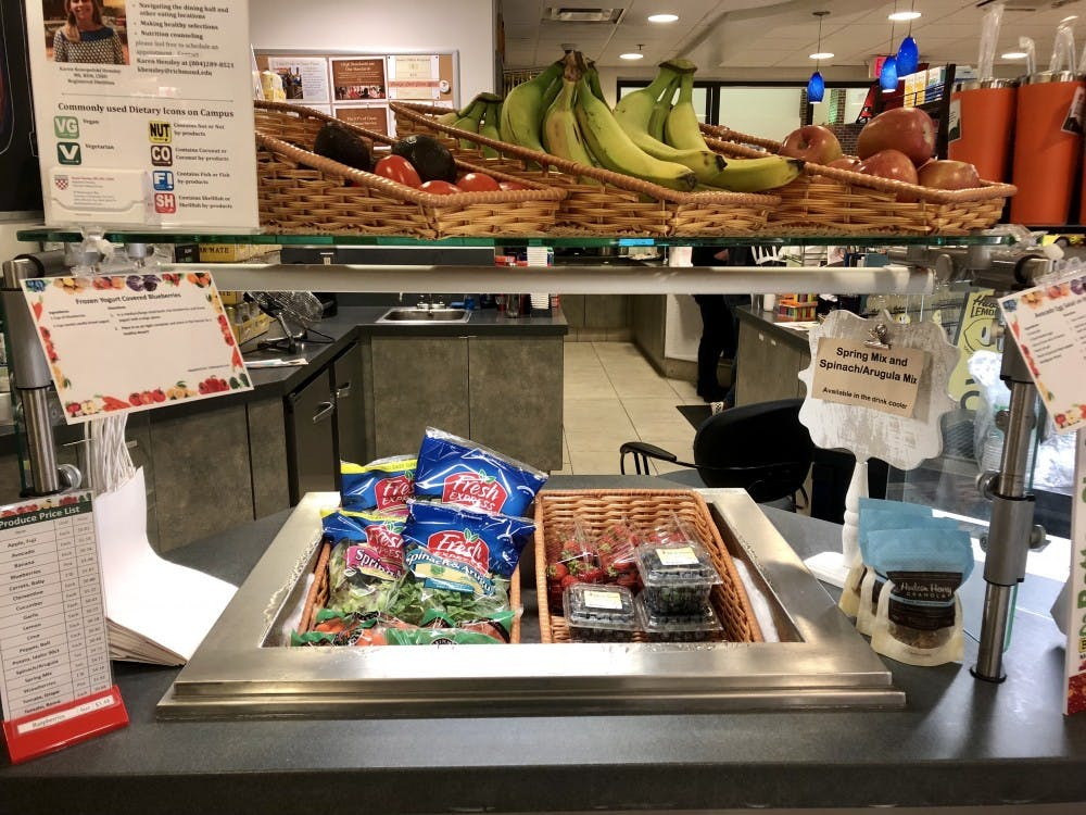 The new fresh produce section at ETC is located at the counter near the refrigerators.