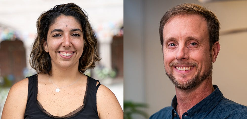 <p>Geography professors Stephanie Spera (left) and David Salisbury (right) received funding from NASA to study environmental changes to the Amazon. <em>Photos courtesy of University Communications</em></p>