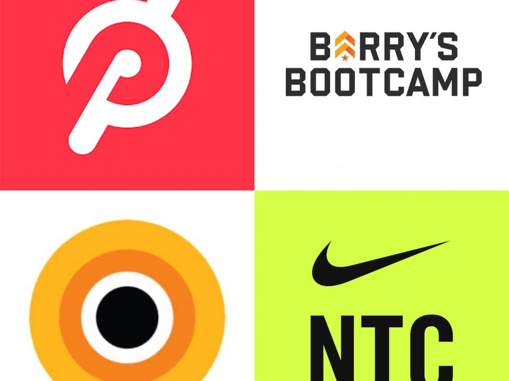 A collage, from top left to bottom right, of the Peloton, Barry's Bootcamp, CorePower Yoga OnDemand and Nike Training Club logos.