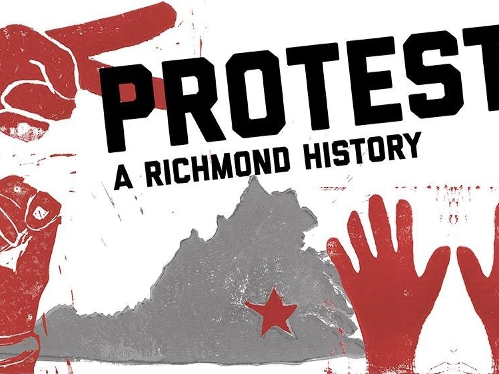 A flyer promoting the students' exhibit, PROTEST! A Richmond History.