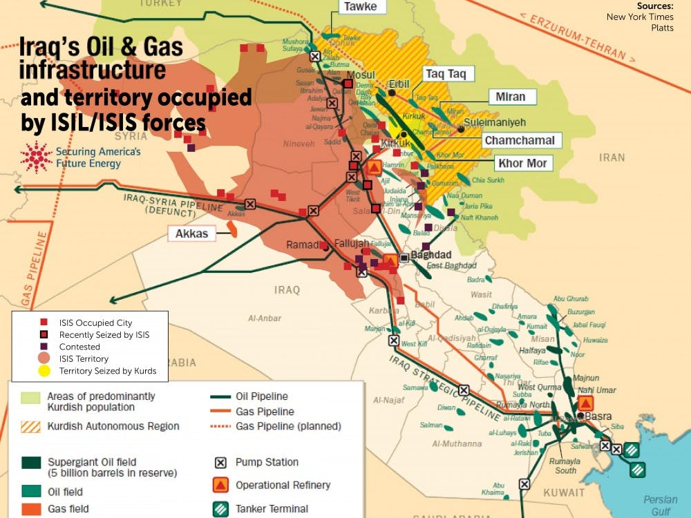 Map detailing ISIS' control of oil fields in Iraq and Syria. Source: NYT