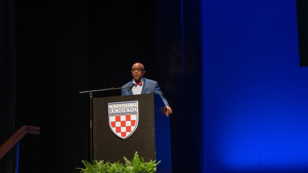 <p>President Crutcher speaks at his State of the University address.</p>