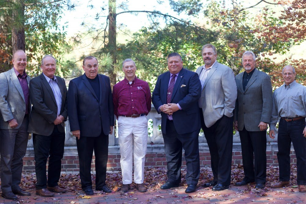 <p>Members of the 1978 wrestling team reunited on campus during homecoming weekend.</p>