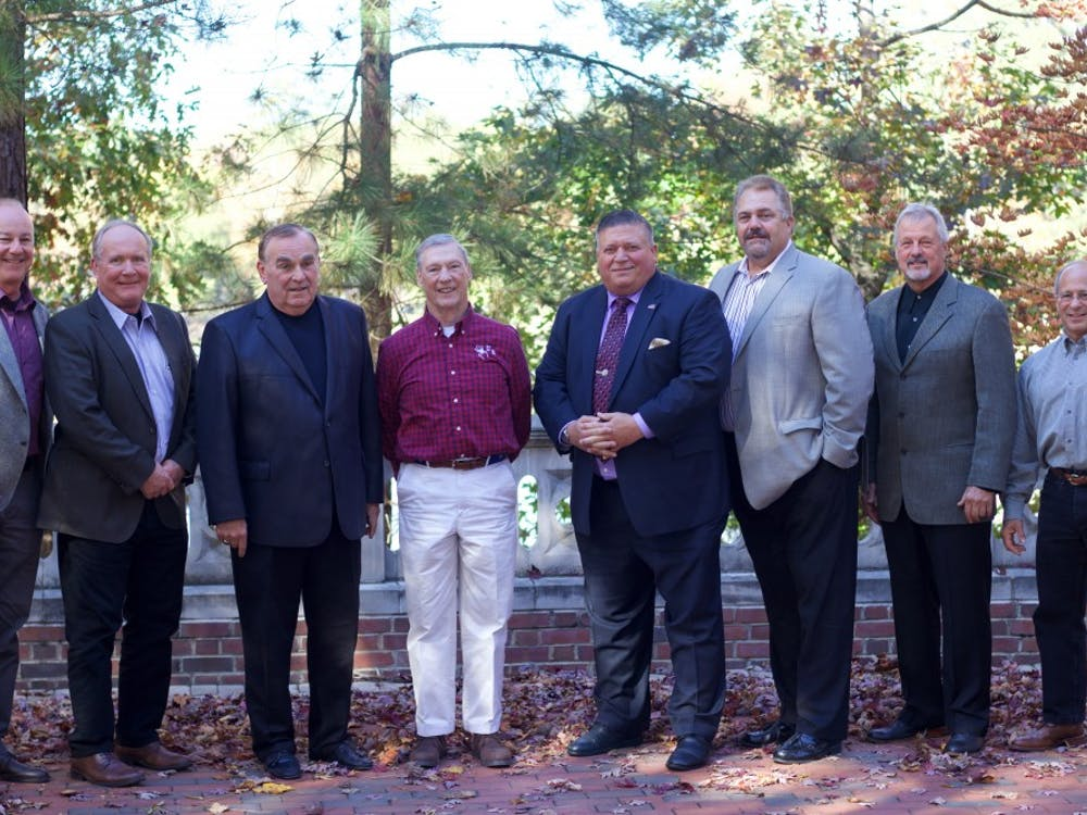 Members of the 1978 wrestling team reunited on campus during homecoming weekend.