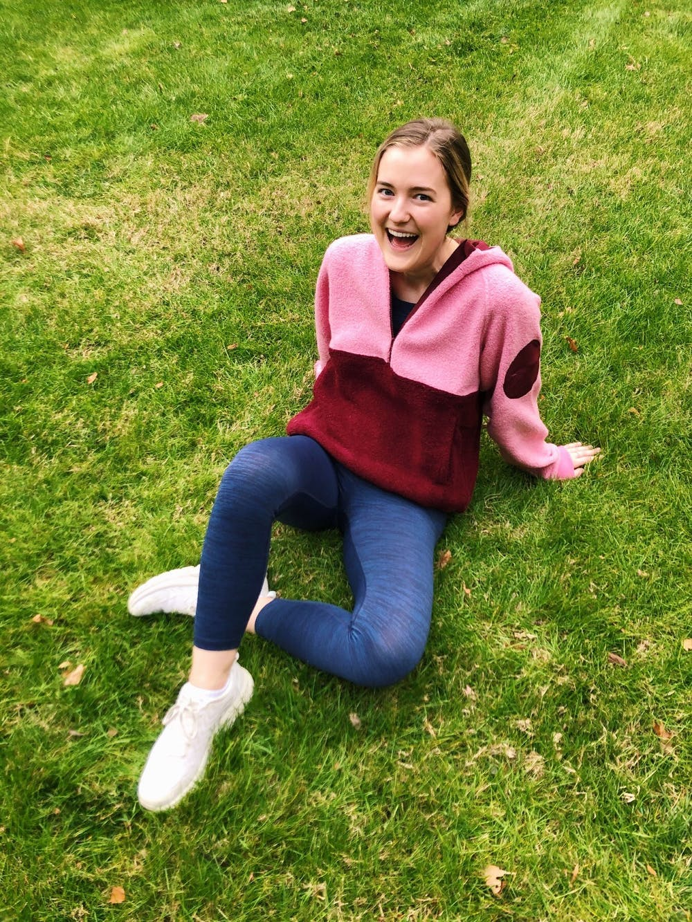 <p>Ava Cummings poses in Outdoor Voices apparel for a social media post as part of her job of being an OVU Crew representative for the brand.&nbsp;</p>