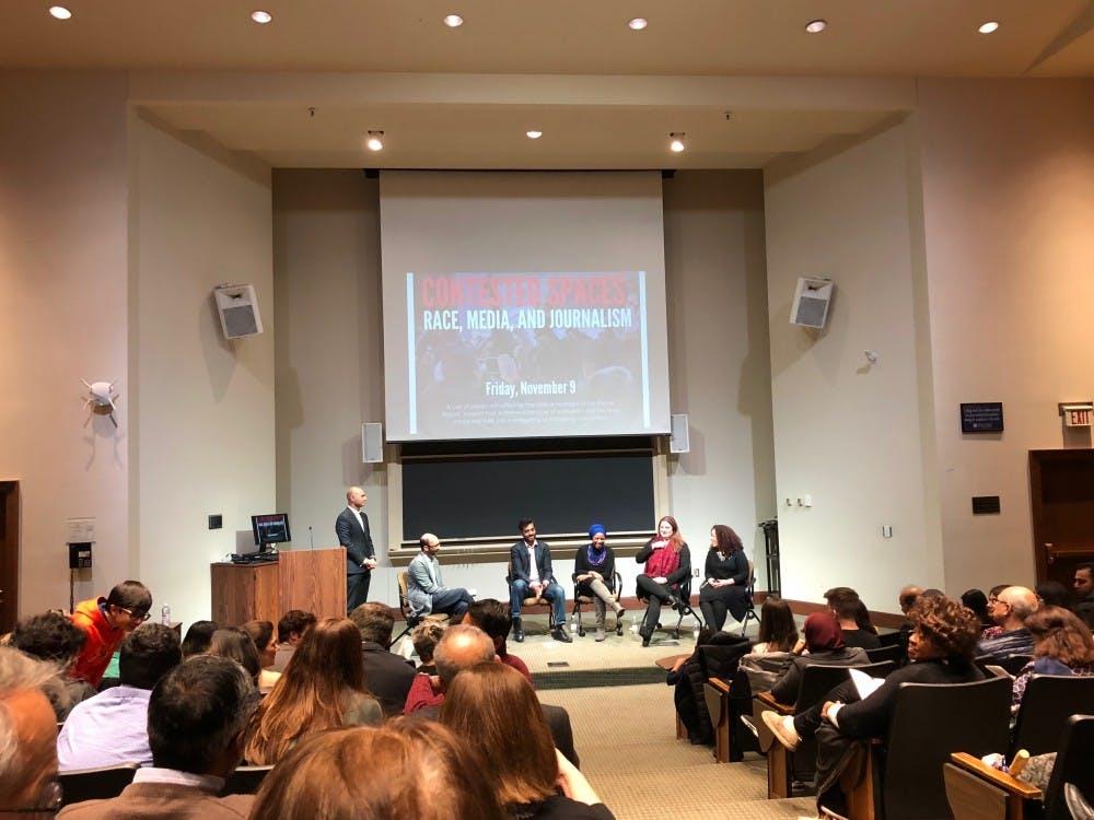 From left, Omar Shams, Shahan Mufti, Wajahat Ali, Malika Bilal, Carmel Delshad and Hannah Allam at the second panel of the night.