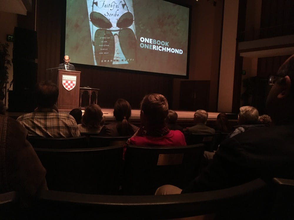 <p>Shahan Mufti speaks about the parallels between the U.S. and Pakistan during the One Book, One Richmond keynote speech.&nbsp;</p>