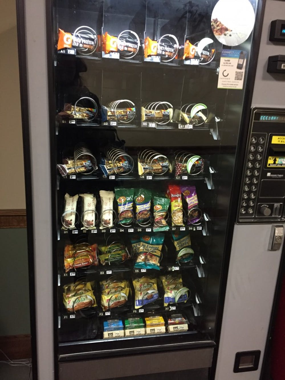 <p>The vending machine on the first floor of Weinstein Hall, which now features only healthy options.</p>