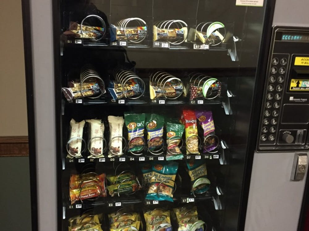 The vending machine on the first floor of Weinstein Hall, which now features only healthy options.