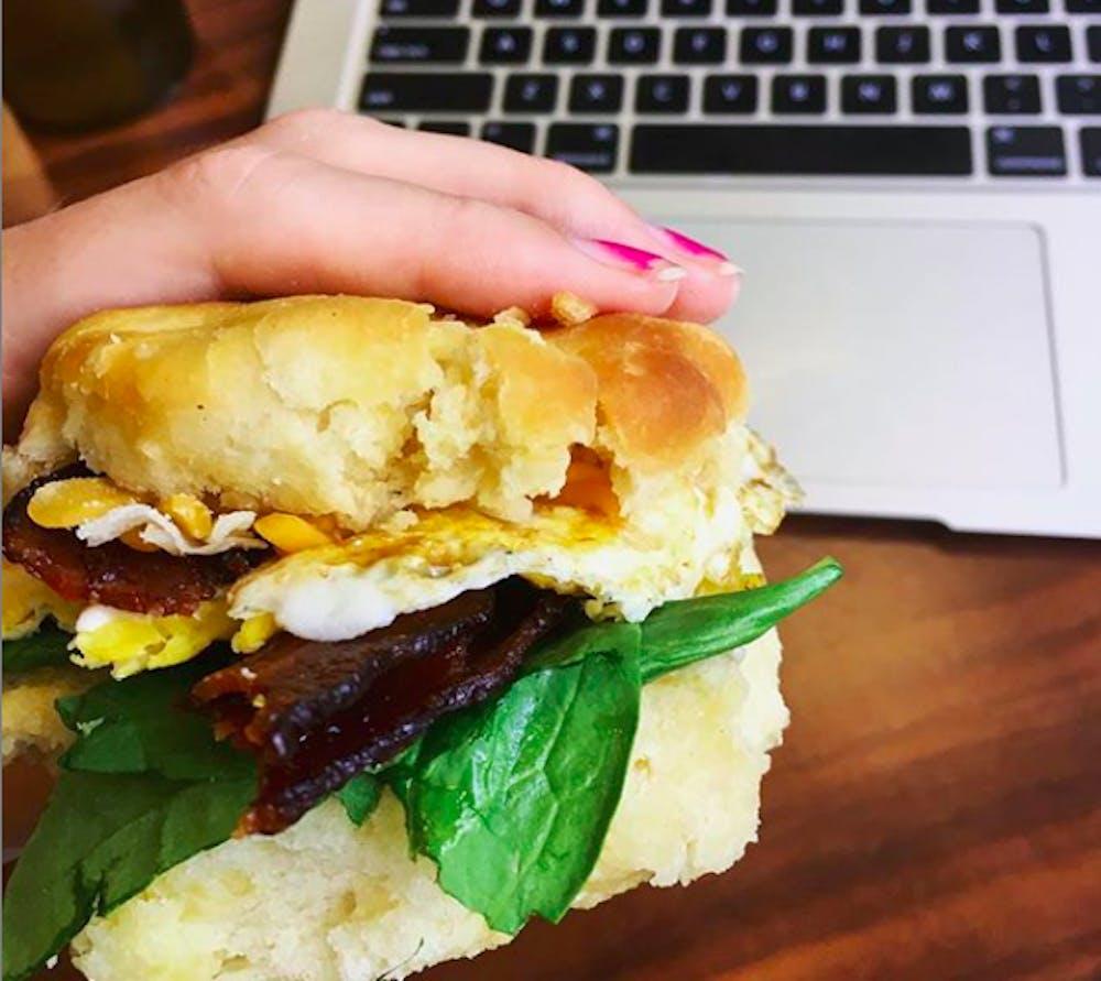 "<p>A breakfast sandwich made from food at the Heilman Dining Center. <em>Photo courtesy of the ""Dhall hacks"" </em><a href=""https://www.instagram.com/dhallhacks/"" target=""_blank""><em>Instagram page</em></a><em>.&nbsp;</em></p>"