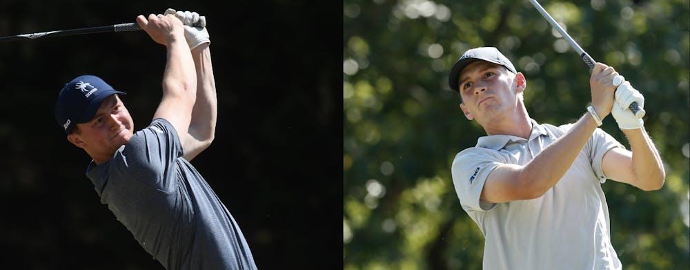 <p>Men's golf's Michael Baker (left) and Michael Childress (right). <em>Photos courtesy of The University of Richmond's men's golf team Twitter.</em></p>