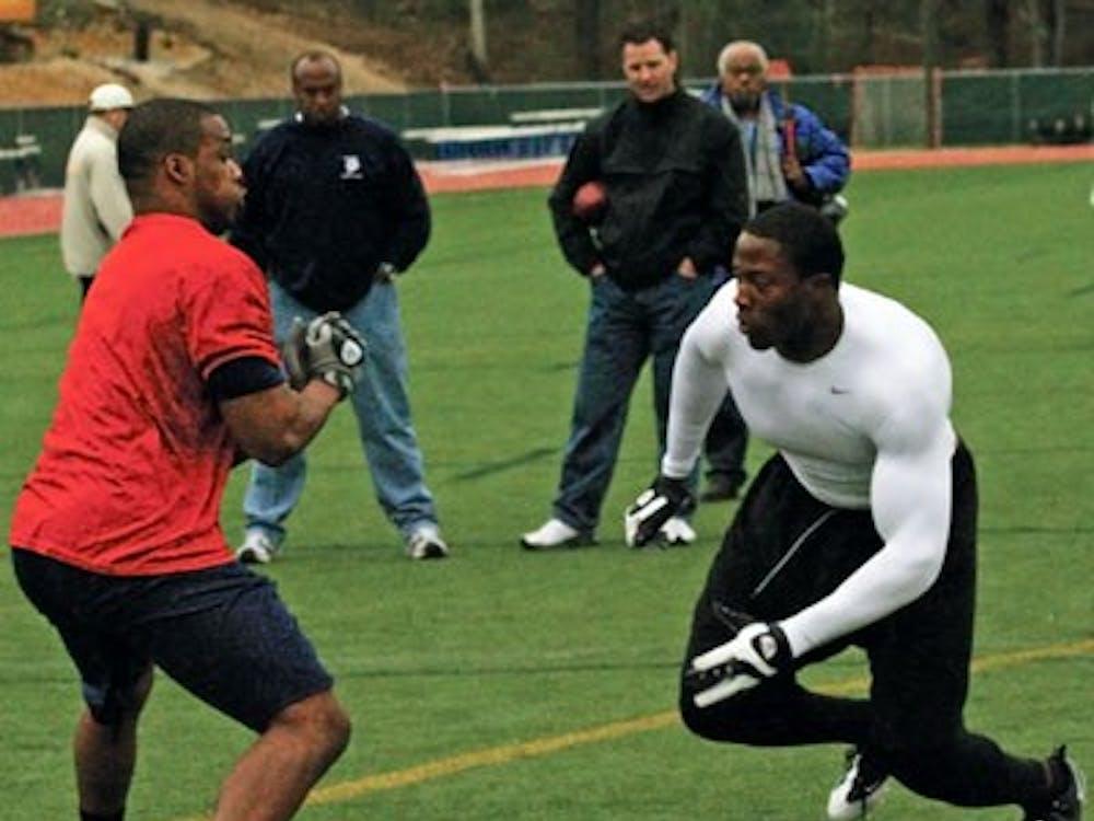 DEs Sherman Logan and Lawrence Sidbury showcase their moves.