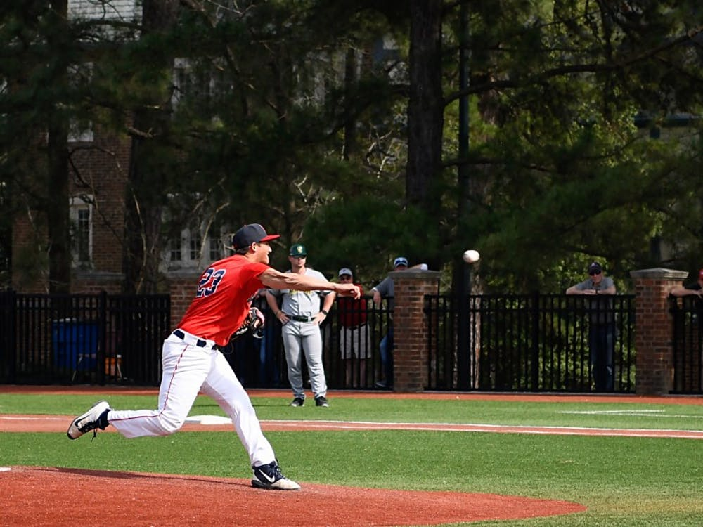 Sophomore right-handed pitcher Jarrad Delarso pitches during the March 30 game against George Mason University.