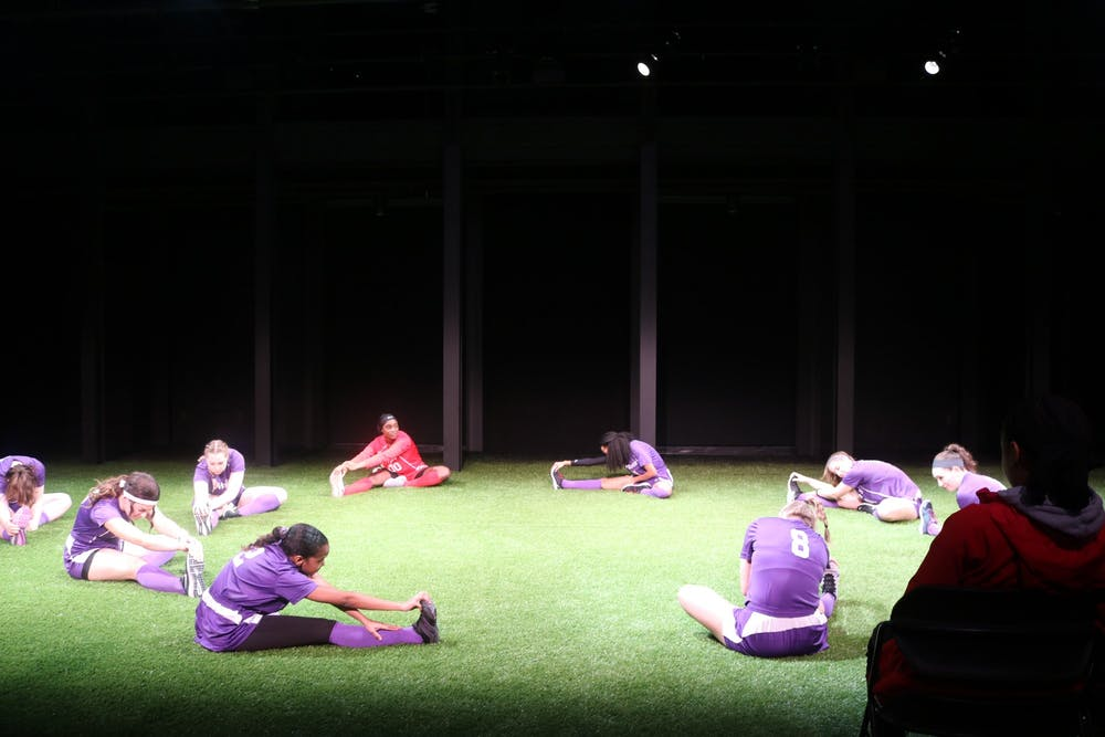 """<p>Opening scene of """"The Wolves"""" by Sarah Delappe in Cousins Studio Theatre.&nbsp;</p>"""