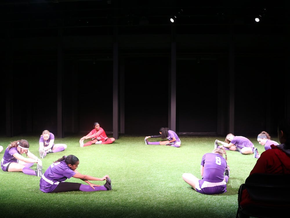 "Opening scene of ""The Wolves"" by Sarah Delappe in Cousins Studio Theatre."
