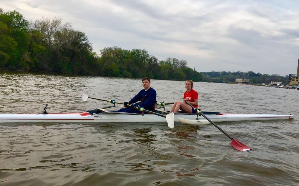 <p>Cole Sydnor, RC '17, and his partner Jen Wicks, WC '20, are ready to begin practice&nbsp;for their upcoming April 22&nbsp;regatta.&nbsp;</p>