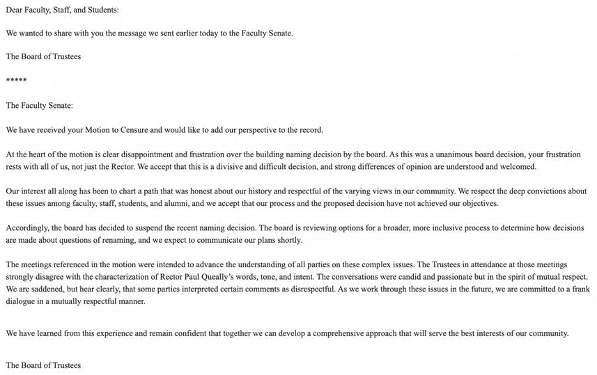 Board of Trustees Statement April 5