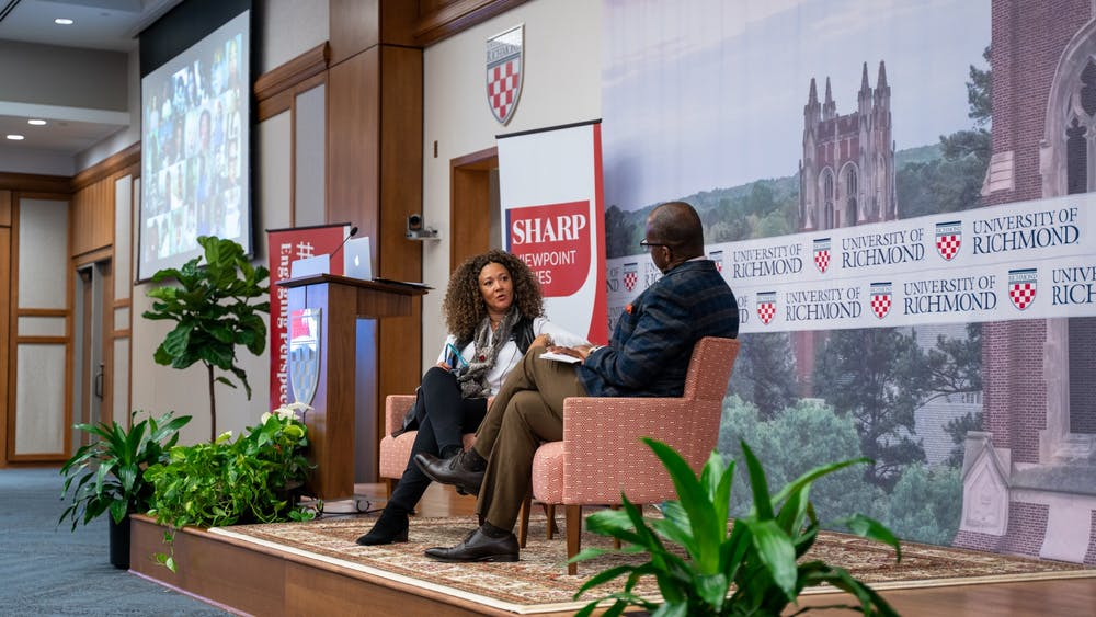 <p>Journalist Michele Norris and Keith McIntosh, vice president and chief information officer, discuss race and difficult conversations as part of the Sharp Viewpoint series on Tuesday, Nov. 12, 2019.</p>