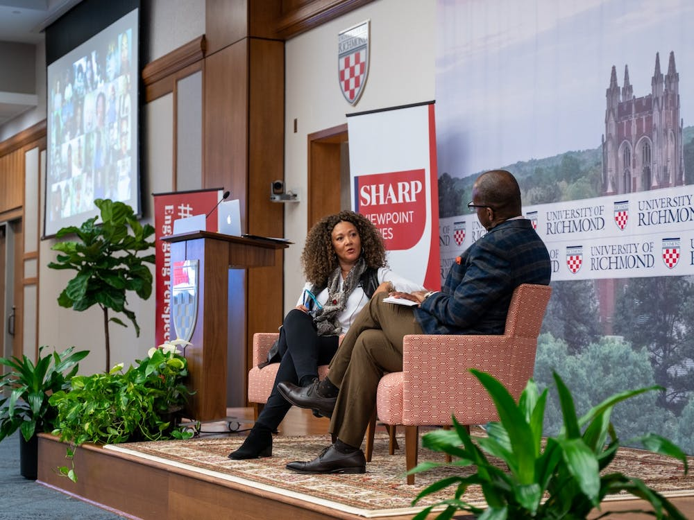 Journalist Michele Norris and Keith McIntosh, vice president and chief information officer, discuss race and difficult conversations as part of the Sharp Viewpoint series on Tuesday, Nov. 12, 2019.