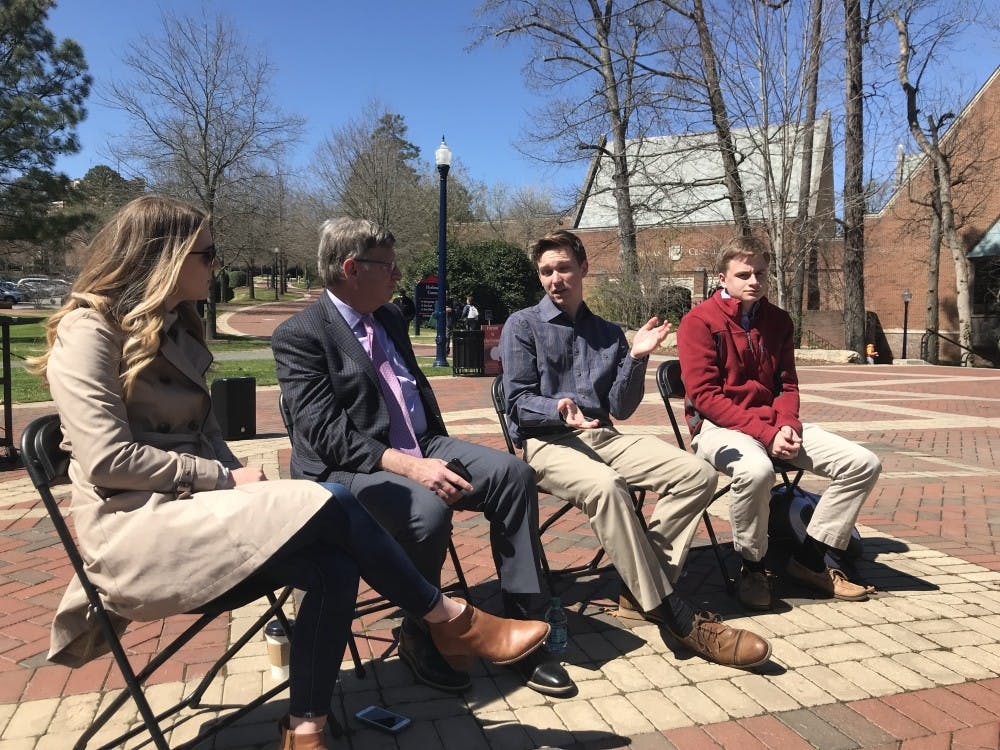 <p>Panel members Ashlee Korlach, Bill Bergman, Alec Greven and Riley Place discuss free speech on the University of Richmond campus.</p>