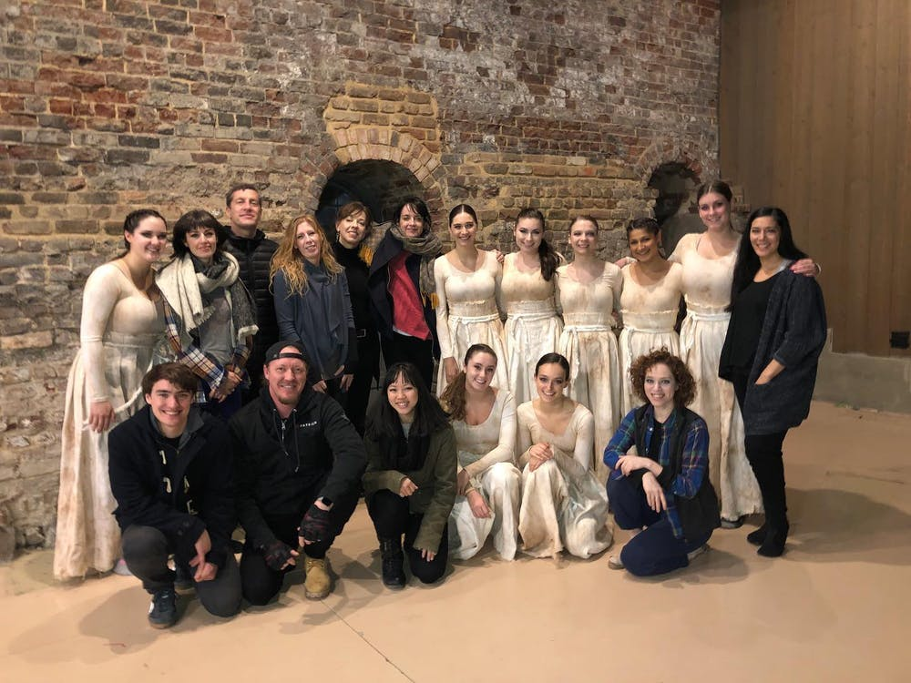 The cast and crew of CROSS CURRENTS, a piece choreographed by Charlotte Boye-Christensen and performed by University Dancers on Saturday, Nov. 16, 2019.