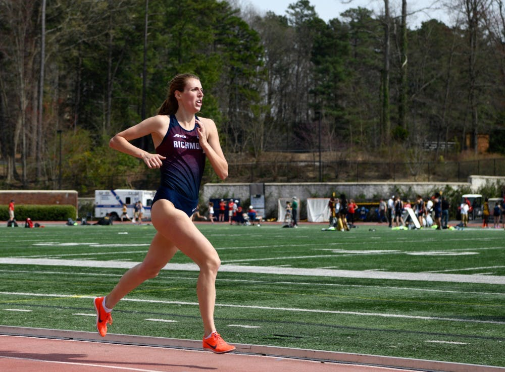 <p>Senior Jordan Angers places first in the women's 3000 meter run during the Saturday session of the Fred Hardy Invitational.&nbsp;</p>