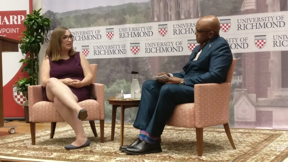 <p>Sharp Viewpoint Series speaker Sarah McBride discusses LGBTQ advocacy with President Ronald A. Crutcher.</p>