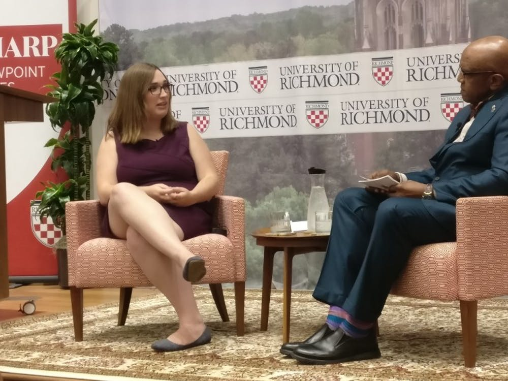 Sharp Viewpoint Series speaker Sarah McBride discusses LGBTQ advocacy with President Ronald A. Crutcher.