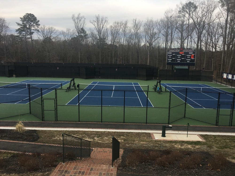 The Westhampton College tennis courts, located behind North Court, are used for both practice and competition.