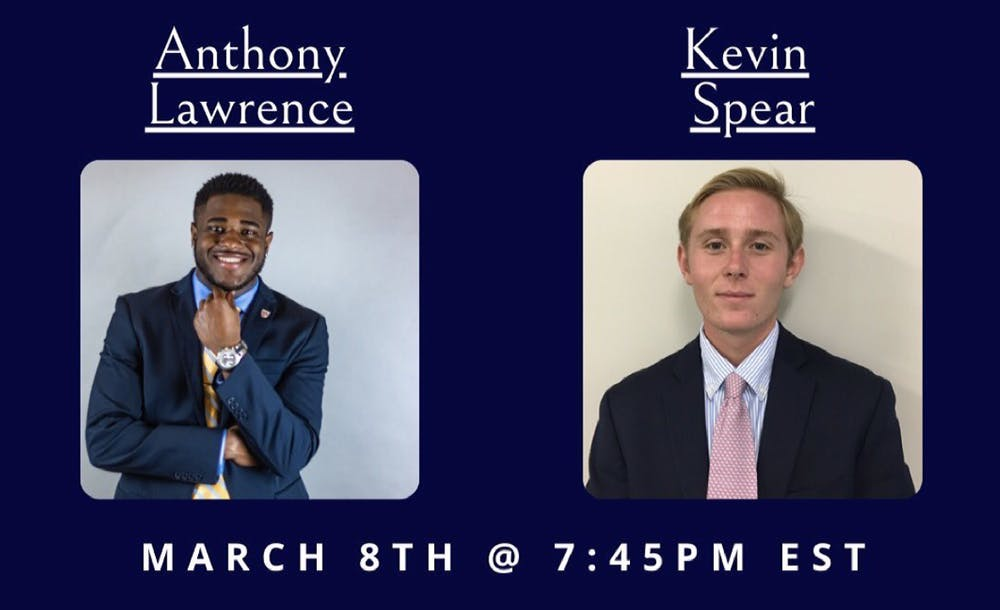 <p>Anthony Lawrence and Kevin Spear are the two RCSGA 2021 presidential candidates. <em>Courtesy of the RCSGA Instagram</em></p>