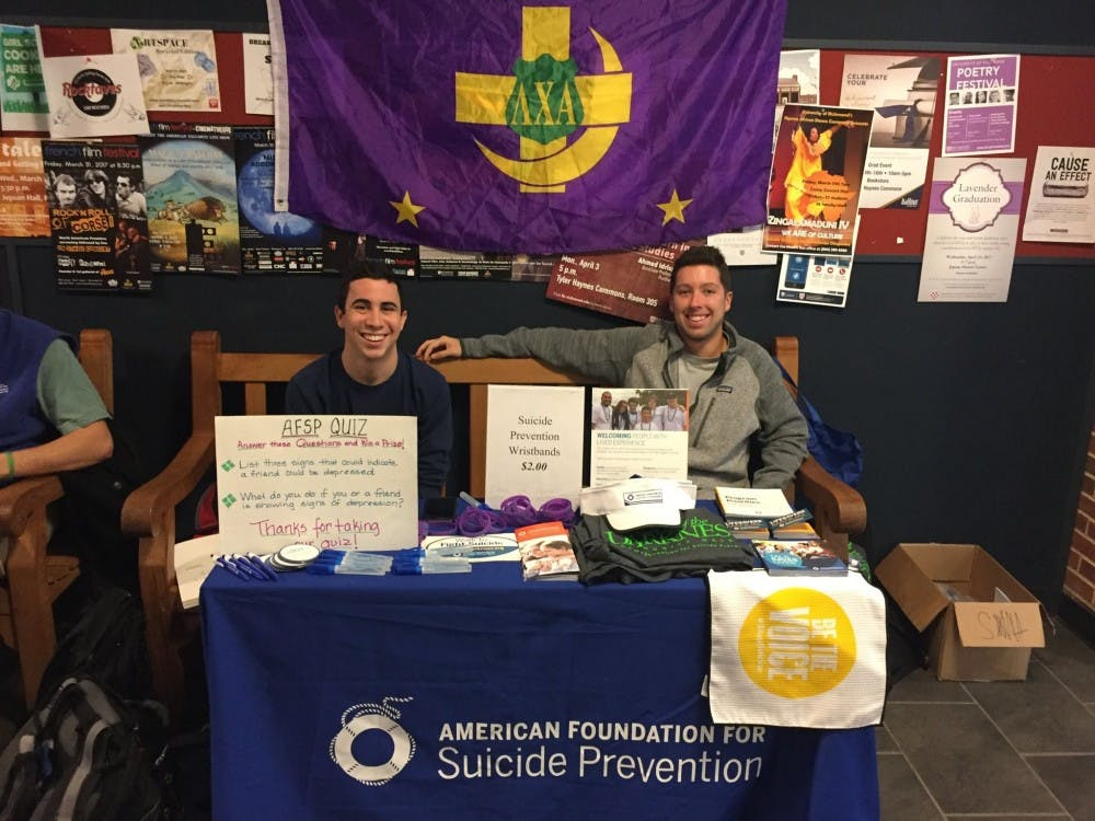<p>Jimmy Bernstein, RC '19, and Ian Gallagher, RC '18, tabling for Lambda Chi's fundraiser campaign. Photo courtesy of Lambda Chi Alpha at the University of Richmond.&nbsp;</p>