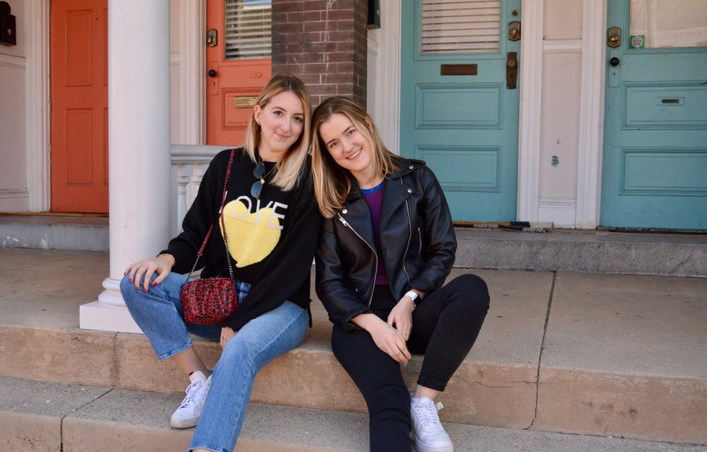 <p>Campus representatives Erin Watton and Ava Cummings posed for a photoshoot in their Rent the Runway pieces. <em>Courtesy of Erin Watton</em></p>
