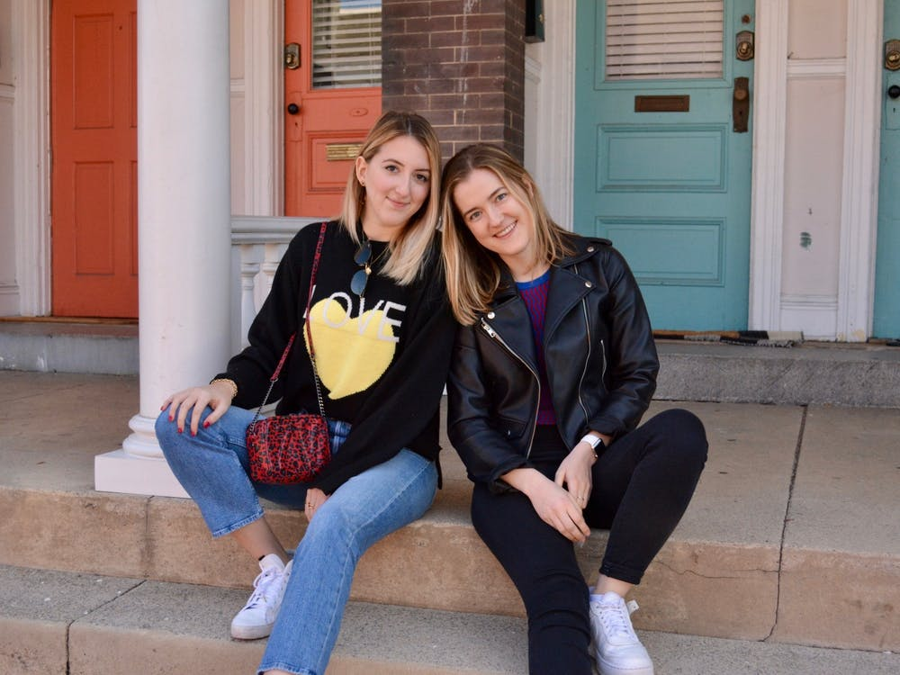 Campus representatives Erin Watton and Ava Cummings posed for a photoshoot in their Rent the Runway pieces. Courtesy of Erin Watton