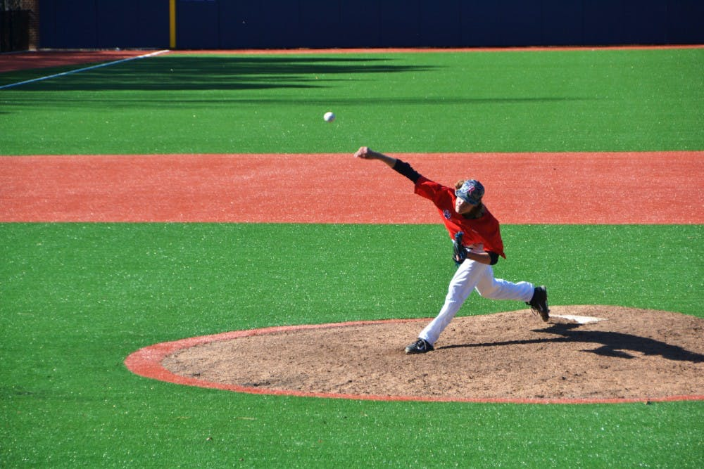 <p>Freshman Justin Garcia threw the first in-game pitch on the new Pitt Field, and hewent on to earn the win for Richmond.</p>