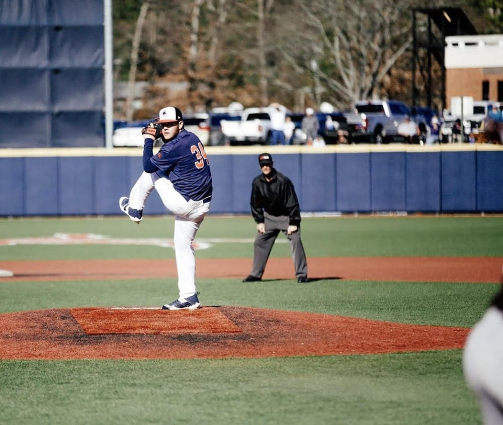<p>Right-handed sophomore pitcher Mason Majors winds up for a throw. <em>Photo courtesy of Jimmy Quinn</em></p>