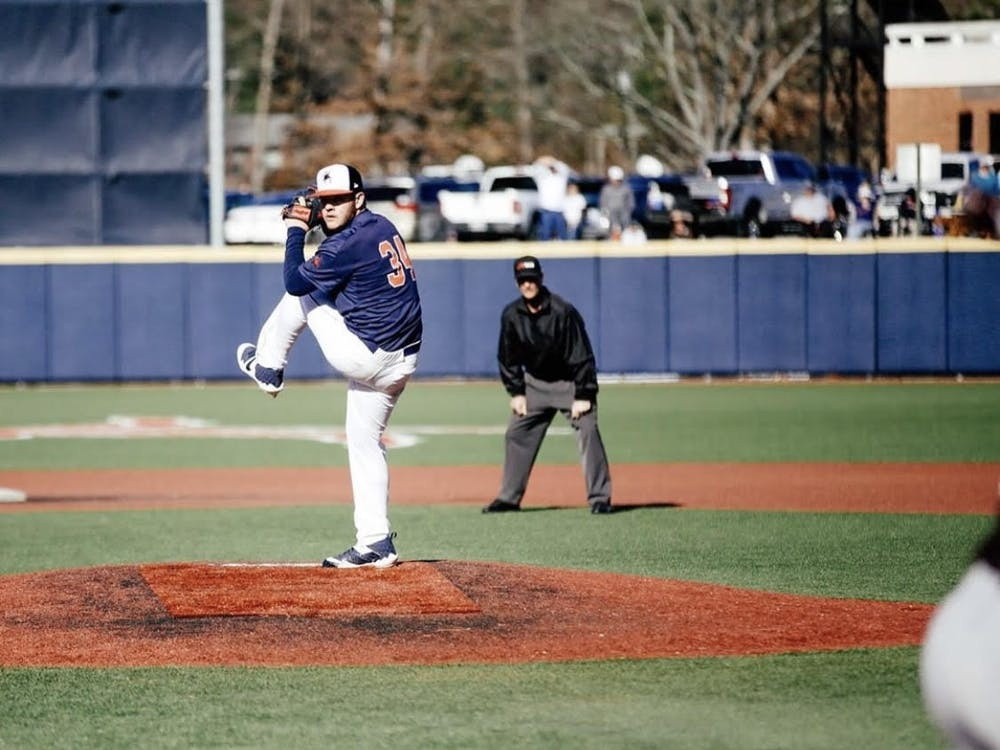 Right-handed sophomore pitcher Mason Majors winds up for a throw. Photo courtesy of Jimmy Quinn