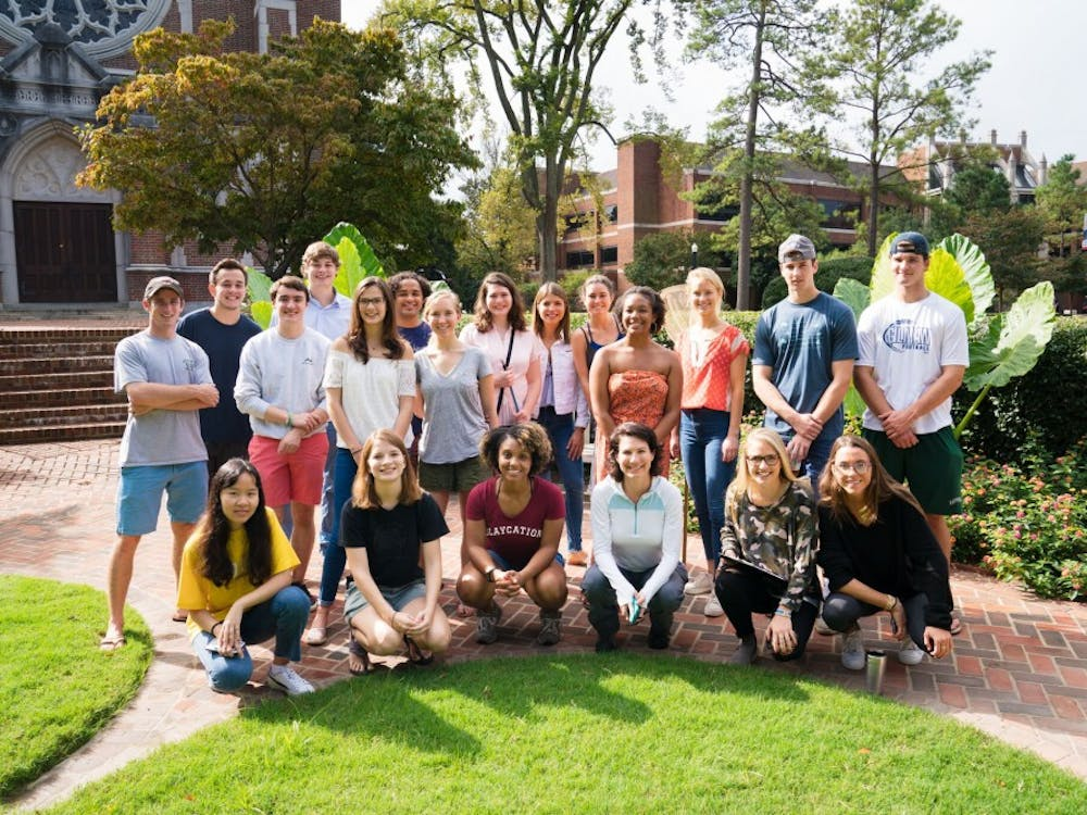 """Professor Jennifer Sevin (third from bottom right) with her """"Introduction to Ecology"""" class this semester."""