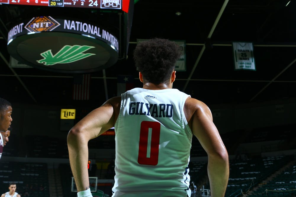 <p>Richmond Spiders' guard Jacob Gilyard during the National Invitation Tournament quarterfinal against Mississippi State at UNT Coliseum on Thursday, Mar. 26, 2021. <em>Photo courtesy of the NCAA</em></p>