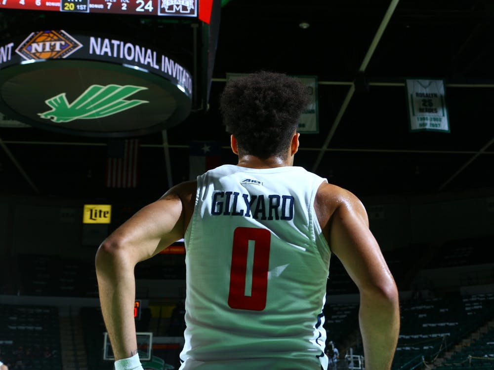Richmond Spiders' guard Jacob Gilyard during the National Invitation Tournament quarterfinal against Mississippi State at UNT Coliseum on Thursday, Mar. 26, 2021. Photo courtesy of the NCAA