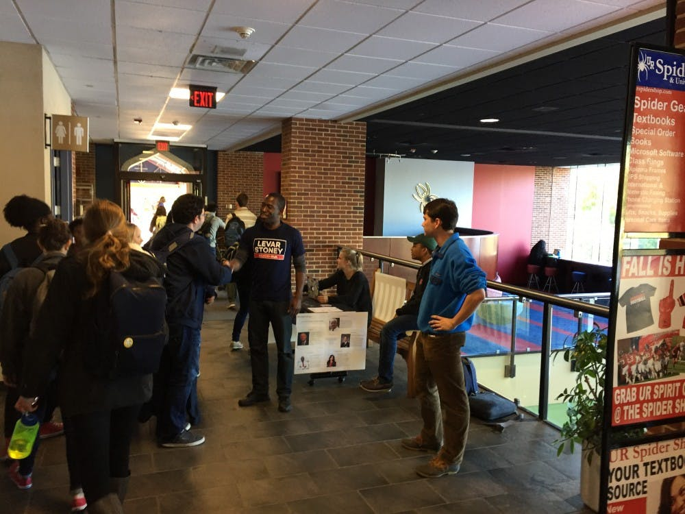 <p>Levar Stoney stopped by the Commons this morning to shake&nbsp;hands with Richmond students one day before the mayoral election.&nbsp;</p>