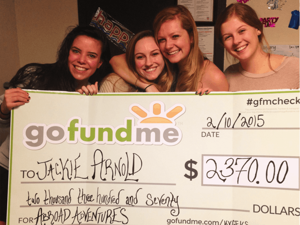 While Arnold was fundraising for cancer research through her marathon, her suite mate, sophomore Holly Speck, started a GoFundMe campaign to surprise her with a trip abroad in the fall for her birthday.From left to right: Sophomores Molly Aaronson, Kate Buckley, Jackie Arnold and Holly Speck.