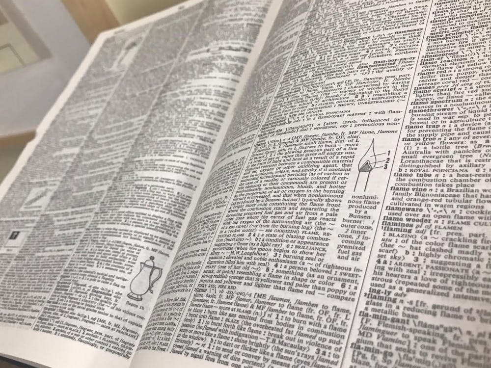 Webster's Third New International Unabridged Dictionary sits in the first floor of Boatwright Memorial Library.