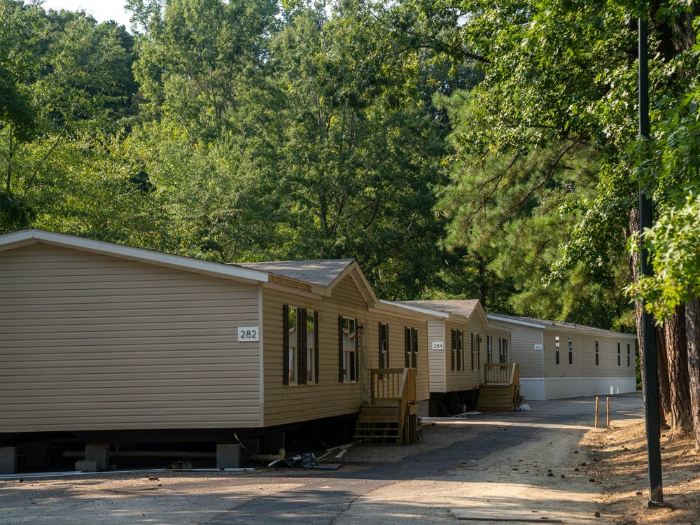 Modular buildings parked in R54, K-lot.