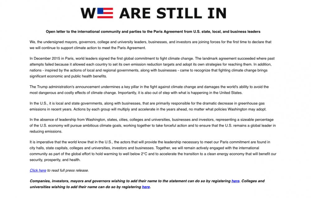 <p>The We Are Still In coalition's open letter to the international community. Courtesy of http://wearestillin.com.&nbsp;</p>