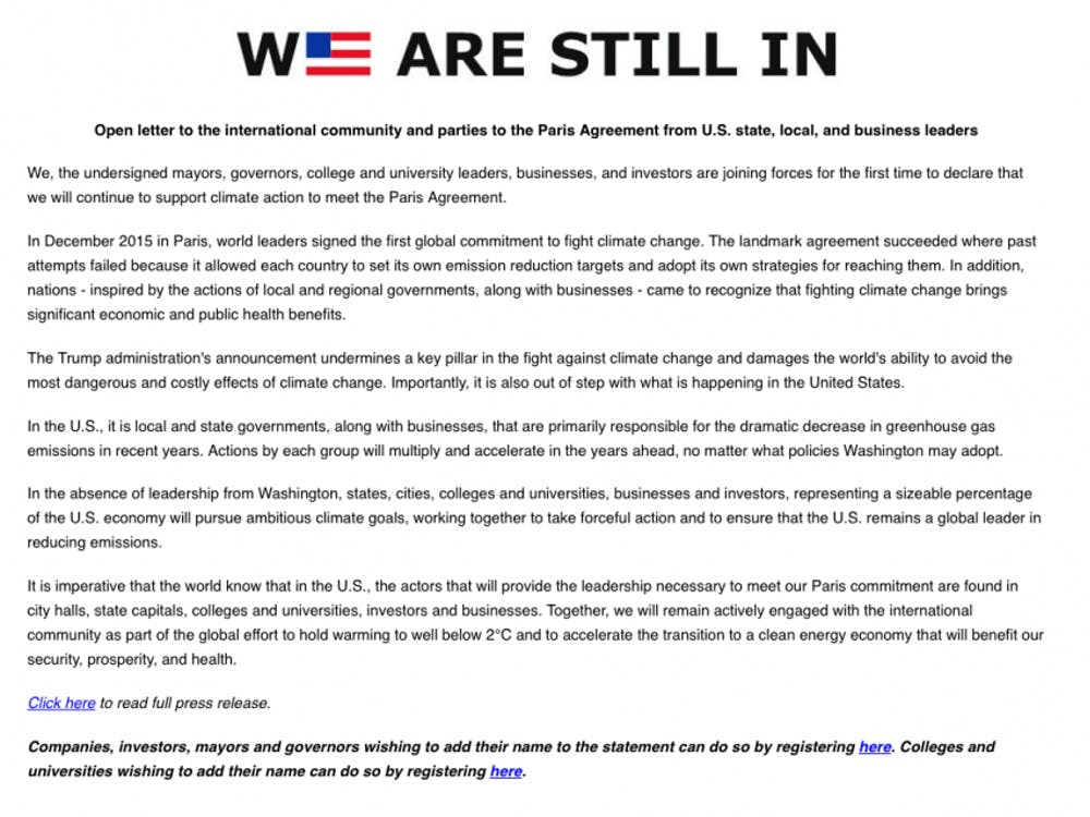 The We Are Still In coalition's open letter to the international community. Courtesy of http://wearestillin.com.
