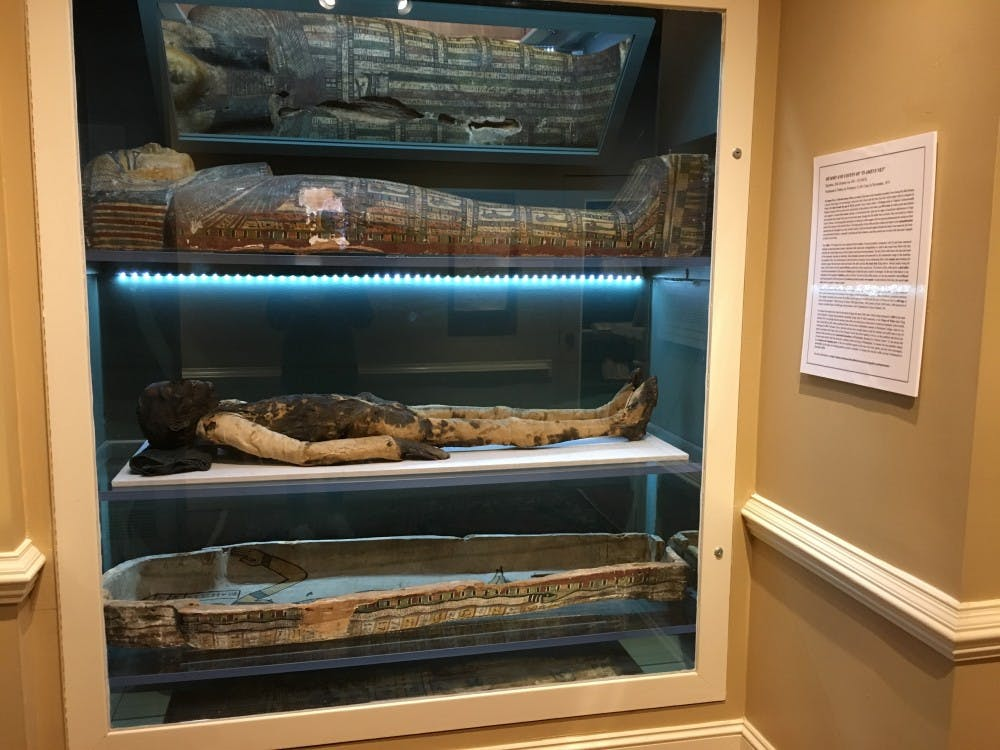 <p>Ti-Ameny-Net, an ancient Egyptian, rests in the Ancient World Gallery.&nbsp;</p>