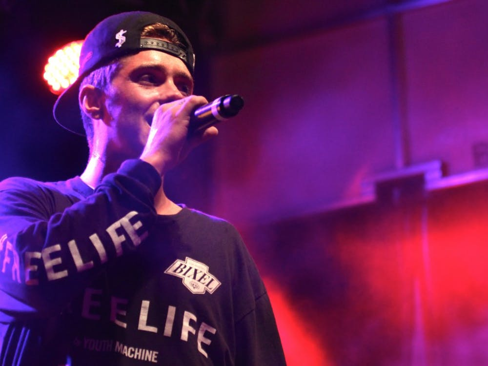 Rapper Sammy Adams performs for hundreds of students at the Richmond Homecoming Concert.